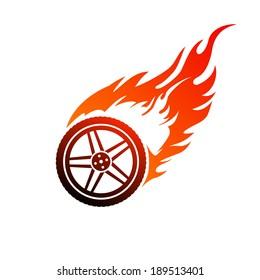 Red and orange burning car wheel
