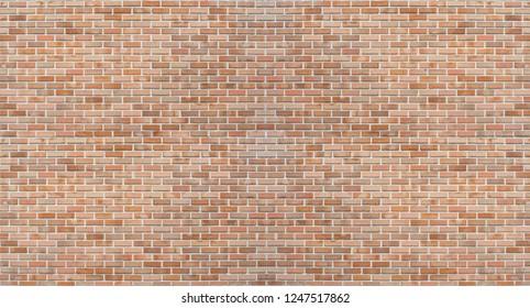 Red orange large old brick wall pattern texture, masonry background