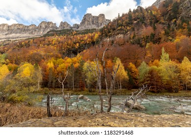 The red, orange and ocher colors highlight the beauty of the river and the mountains of the Ordesa National Park during the autumn. Huesca, Spain