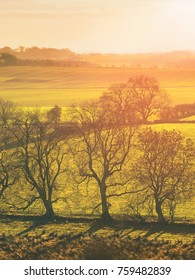 Red, Orange and yellow glow of a sunset over green pastures and trees in the English Countryside.