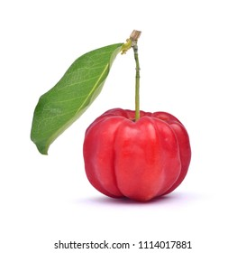 Red organic Acerola Cherry with green leaves isolated on white with clipping path, High vitamin C and Antioxidant fruits