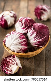 Red organic radicchio in the basket