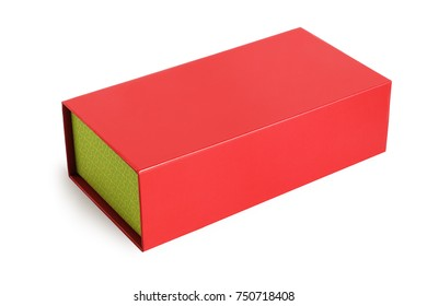 Red Oriental Gift Box on White Background