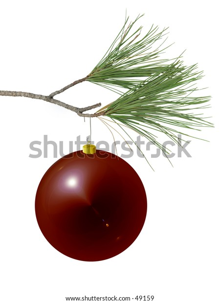 red ornament on pine branch