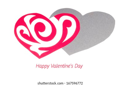 Red Ornament Paper Heart with Paper Shadow on White background