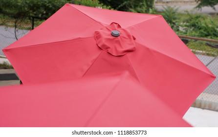 Red outdoor patio umbrella