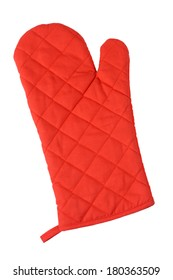 Red oven mitt, cutout on white background