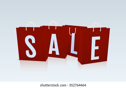 Red package sale isolated. Package on the white  glass background with reflection. Raster shop theme