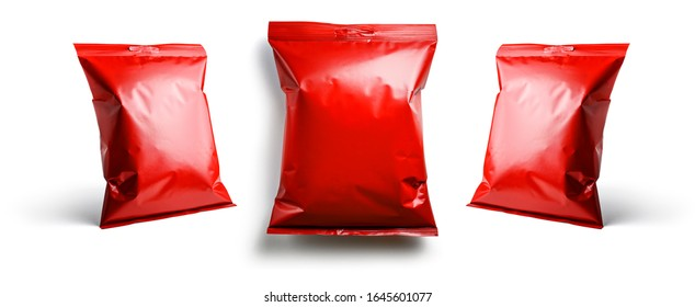Red packaging template for your design. In different angles on a white background