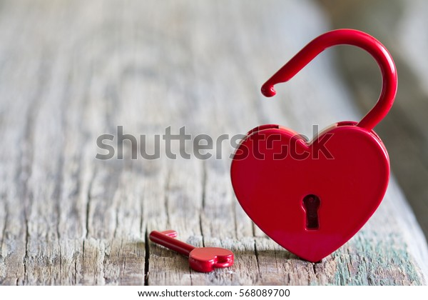 Red padlock heart shape Valentines day love abstract sign