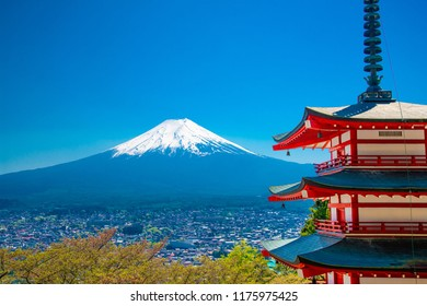Red Pagoda with Mt Fuji on the background,Mt. Fuji with red pagoda in autumn, Fujiyoshida, Japan,Chureito Pagoda.