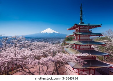 Red Pagoda with Mt Fuji on the background