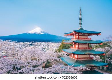 Red Pagoda with Mt Fuji on the background,Mt. Fuji with red pagoda in autumn, Fujiyoshida, Japan,Chureito Pagoda.