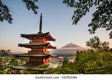 Red pagoda with Mt.Fuji San in Spring at Fujiyoshida, Japan
