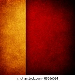 red paint background with gold strip