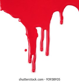 Red Paint Drips on White background