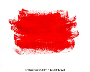 Red paint gouache smear on a white background