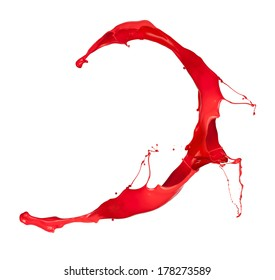 Red paint splash, isolated on white background