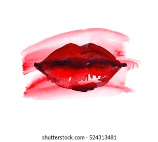 Red paint stain with beautiful woman's bright red lips painted in watercolor on clean white background