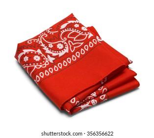 Red Paisley Bandana Isolated on a White Background.