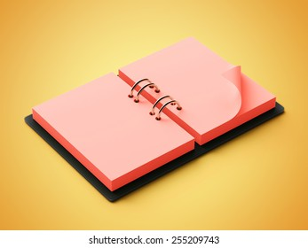 Red Paper Agenda isolated on yellow background