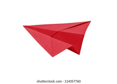 Red Paper aircraft, Paper Plane on a white background,