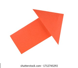 Red paper arrow isolated on white background