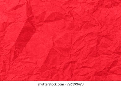 Red paper backround. Red crumpled paper texture