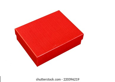 Red paper box isolated on white background