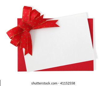 Red paper envelope with white card isolated on white background