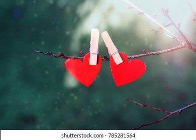 Red paper hearts hanging on a branch on a green background. Saint Valentine's Day concept.