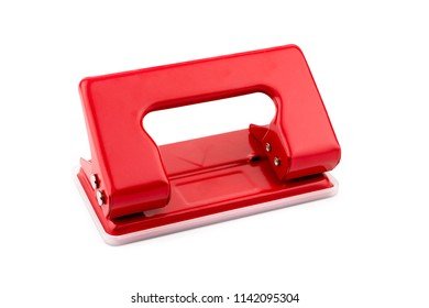 Red paper hole puncher isolated on white background with Clipping Path.