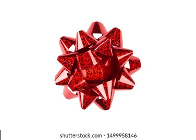 Red paper holiday bow over white isolated background. Single object. Mockup. Top view. Decoration for present