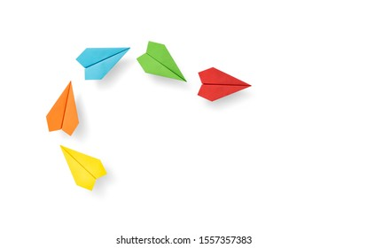 Red paper plane leader concept, Leadership and Business competition concepts