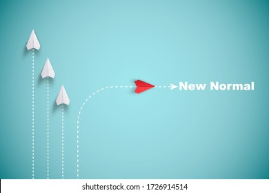 Red paper plane out of line with white paper to change disrupt and finding new normal way on blue background. Lift and business creativity new idea to discovery innovation technology. - Shutterstock ID 1726914514