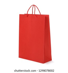 Red paper shopping bags isolated on white background, Woman love online shopping Concept