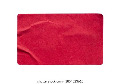 Red paper sticker label isolated on white background