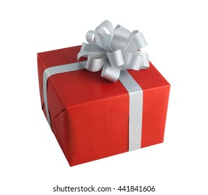 Red paper wrap gift box gray bow present christmas birthday isolated white background