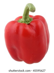 red paprika isolated on white with clipping path