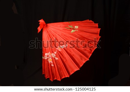 Red Parasol On Black Background Red Asian Stock Photo Edit Now