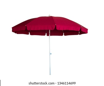 red parasol on a white background