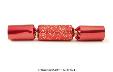 Red party cracker isolated on white