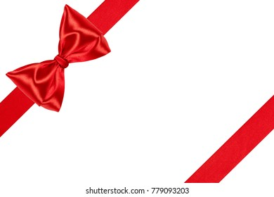Red party ribbon bow. Holiday decoration isolated on white background.