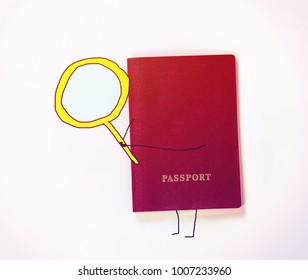 red passport with painted hands and feet holds a huge yellow lupa
