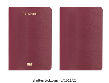 Red passport texture background on white background with clipping path.
