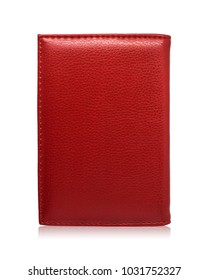 Red passport wallet isolated on white background. Template of leather purse for your design.