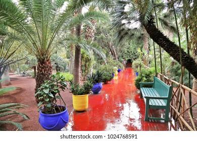 Red pavement  in majorelle garden