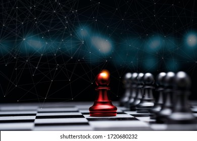 Red pawn chess stepped out of line to show different thinking ideas and leadership. Business technology change and disruption for new normal concept.