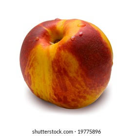 Red peach covered by drops of water. Isolated on the white background.