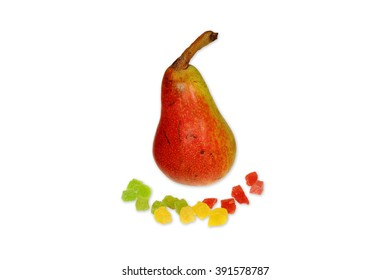 Red pear with candied fruit isolated on white